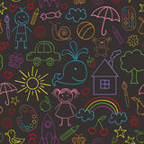 Seamless pattern with child drawings black Royalty Free Stock Photography