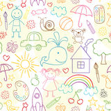 Seamless pattern with child drawings stock illustration