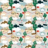 Seamless pattern for childish adventure. Vector illustration Stock Photos