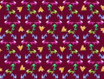 Seamless pattern with childish animals and lily flowers Royalty Free Stock Photography