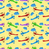 Seamless pattern from children colored retro planes Royalty Free Stock Photo