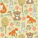 Seamless pattern. Children seamless pattern with foxes and hares Stock Images