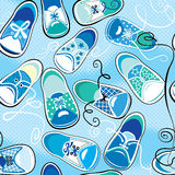 Seamless pattern - children gumshoes on blue backg Stock Image