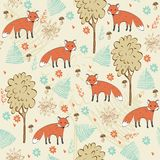 Seamless pattern. Children hand drawn seamless pattern with foxes Stock Image