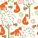 Seamless pattern. Children hand drawn seamless pattern with foxes Stock Images