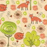Seamless pattern. Children hand drawn seamless pattern with foxes Royalty Free Stock Photos