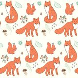 Seamless pattern. Children hand drawn seamless pattern with foxes Royalty Free Stock Image
