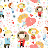 Seamless pattern of children in love Royalty Free Illustration
