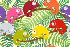 Seamless pattern for children with multi-colored chameleon. Vector illustration. Set of cute, colorful chameleon on a background of leaves of a plant. Suitable Stock Images