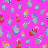 Seamless pattern for children on a pink background. Seamless pattern created by hand with watercolor. After a qualitative image check and preparation in Stock Images