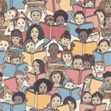 Seamless pattern of children reading colorful books stock photo