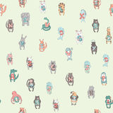 Seamless pattern of children`s alphabet with cute animals. Vector illustration. stock illustration