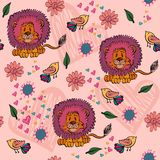 Seamless pattern. Childrens seamless pattern with birds and lions Stock Photography