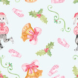 Seamless pattern with children`s drawing. Holiday, Christmas drawings. Royalty Free Stock Image