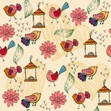 Seamless pattern. Childrens seamless pattern with multi-colored birds Stock Image