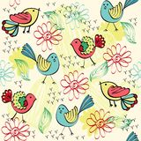 Seamless pattern. Children's seamless pattern with multi-colored birds Royalty Free Stock Photo