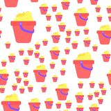 Seamless pattern of children`s pail with sand. An allover pattern of toys Stock Image