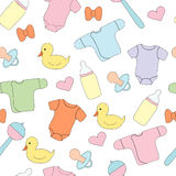 Seamless pattern with children`s things and toys.. Vector picture, design print Stock Photos