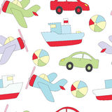 Seamless pattern with children`s toys for the boy. A vector picture with a ball, the car, the ship, plane. Stock Photos