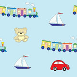 Seamless pattern with children`s toys for the boy. A vector picture Royalty Free Stock Image