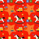 Seamless pattern with children`s toys Stock Images