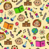 Seamless pattern with children and school symbols Stock Image