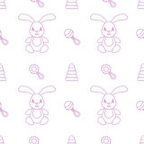 Seamless pattern children. Toys. Hare. Seamless pattern children.  Minimalism. Vector illustration Stock Images