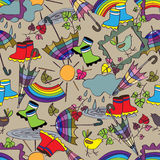 Seamless pattern for children with umbrella and rain. Royalty Free Stock Images