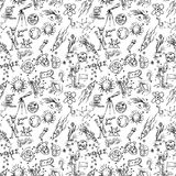 Seamless pattern of childrens contour drawings on space theme. Seamless pattern children vector contour drawings on the theme of space, planets, astronauts, the vector illustration