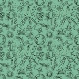 Seamless pattern_4_of childrens contour drawings on space theme. Seamless pattern children vector contour drawings on the theme of space, planets, astronauts vector illustration