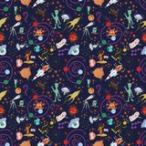 Seamless pattern_2_of childrens drawings in flat style on space. Seamless pattern children vector drawings in the style of flat on the space theme, planets vector illustration