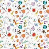 Seamless pattern of childrens drawings in flat style on space th. Seamless pattern children vector drawings in the style of flat on the space theme, planets stock illustration
