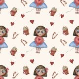 Seamless pattern. Childrens collection. Cute girl with a balloon and sweets and caramel on a white background. Hand