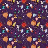 Seamless pattern_1_of childrens drawings in flat style on space. Seamless pattern children vector drawings in the style of flat on the space theme, planets royalty free illustration