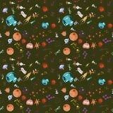 Seamless pattern_4_of childrens drawings in flat style on space. Seamless pattern children vector drawings in the style of flat on the space theme, planets royalty free illustration