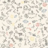 Seamless pattern childrens_3_drawings on space theme, science and the appearance of life on earth, Doodle style. Vector seamless pattern with childrens drawings stock illustration