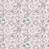 Seamless pattern childrens_8_drawings on space theme, science and the appearance of life on earth, Doodle style. Vector seamless pattern with childrens drawings stock illustration