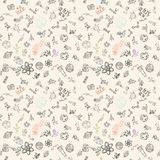 Seamless pattern childrens_4_drawings on space theme, science and the appearance of life on earth, Doodle style. Vector seamless pattern with childrens drawings vector illustration