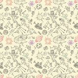 Seamless pattern childrens_5_drawings on space theme, science and the appearance of life on earth, Doodle style. Vector seamless pattern with childrens drawings royalty free illustration
