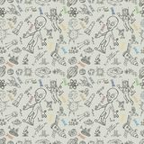 Seamless pattern childrens_6_drawings on space theme, science and the appearance of life on earth, Doodle style. Vector seamless pattern with childrens drawings stock illustration