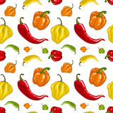 Seamless  pattern with chili peppers Stock Images