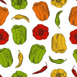 Seamless pattern with chilli and bulgarian peppers Stock Photos