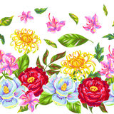 Seamless pattern with China flowers. Bright buds of magnolia, peony, rhododendron and chrysanthemum Royalty Free Stock Images
