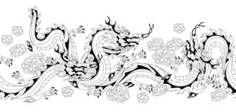 Seamless pattern with Chinese dragons. Coloring page for printing and drawing. Traditional China symbol. Asian mythological black animals stock illustration