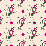 Seamless pattern with chinese orchid Stock Image