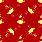 Seamless pattern in the Chinese style. Tea leaves, teapot, hieroglyph tea. The Chinese characters Tea Stock Photos