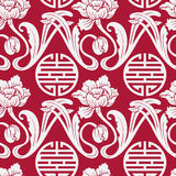Seamless pattern of Chinese symbols and flowers. Red and white background. Imitation style of Chinese painting on porcelain. Stock Images