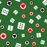 Seamless pattern with chips and dices. Vector illustration. stock illustration