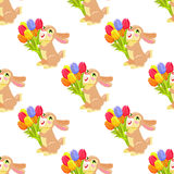 Seamless Pattern with Chocolate Bunny and Bouquet. Seamless pattern with milk chocolate bunny and luxury bouquet of tulips on white background. Vector Royalty Free Illustration