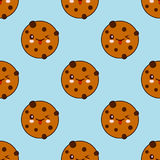 Seamless pattern with Chocolate Cookie isolated on blue background. Can use for birthday card, packaging, textiles, fabrics, wallpaper. Flat design Vector stock illustration